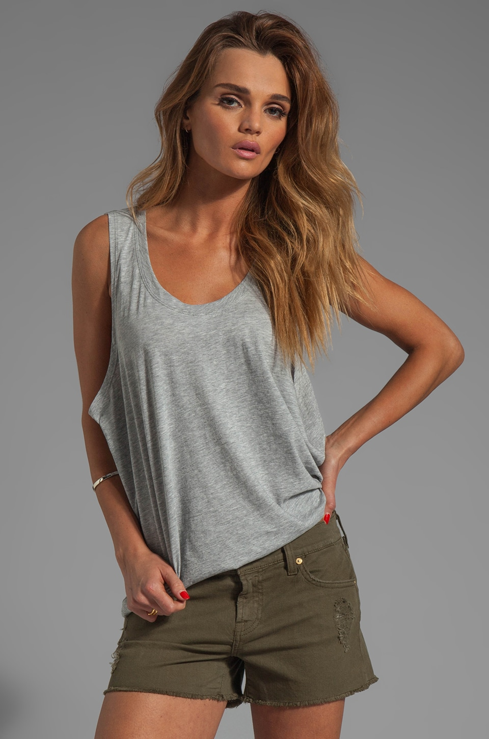Michael Stars Shine Dropped Armhole Cropped Tank in Heather Grey