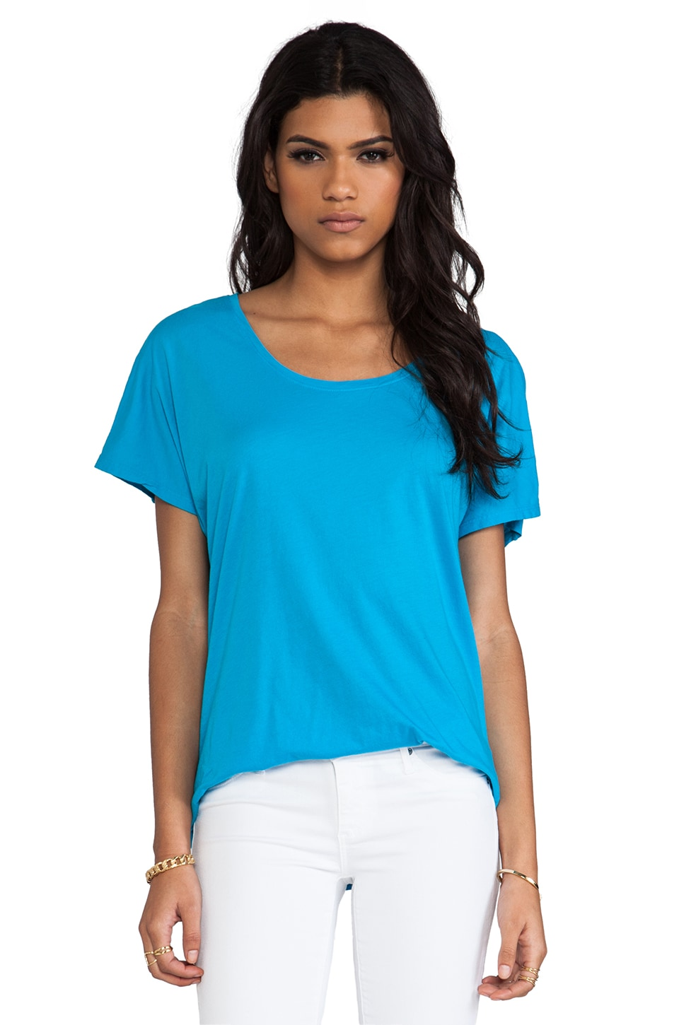 Michael Stars Shine Short Sleeve Scoop Neck Back Drape Top in Atlantic