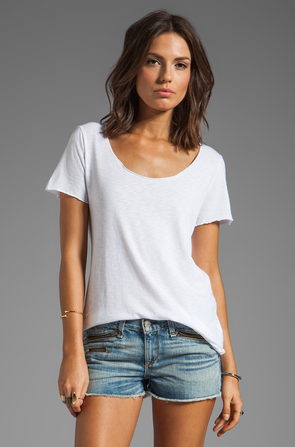 Michael Stars Luxe Slub Short Sleeve Scoop Neck With Low Hi Top in White