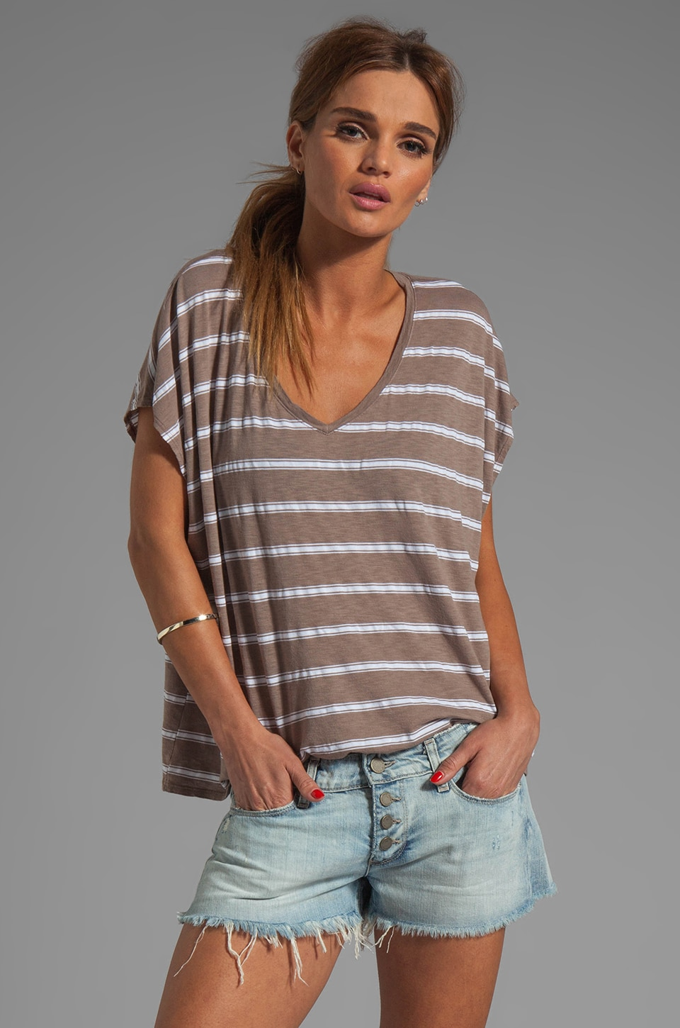 Michael Stars Hampton Stripe Short Sleeve V Neck Tee in Cobblestone