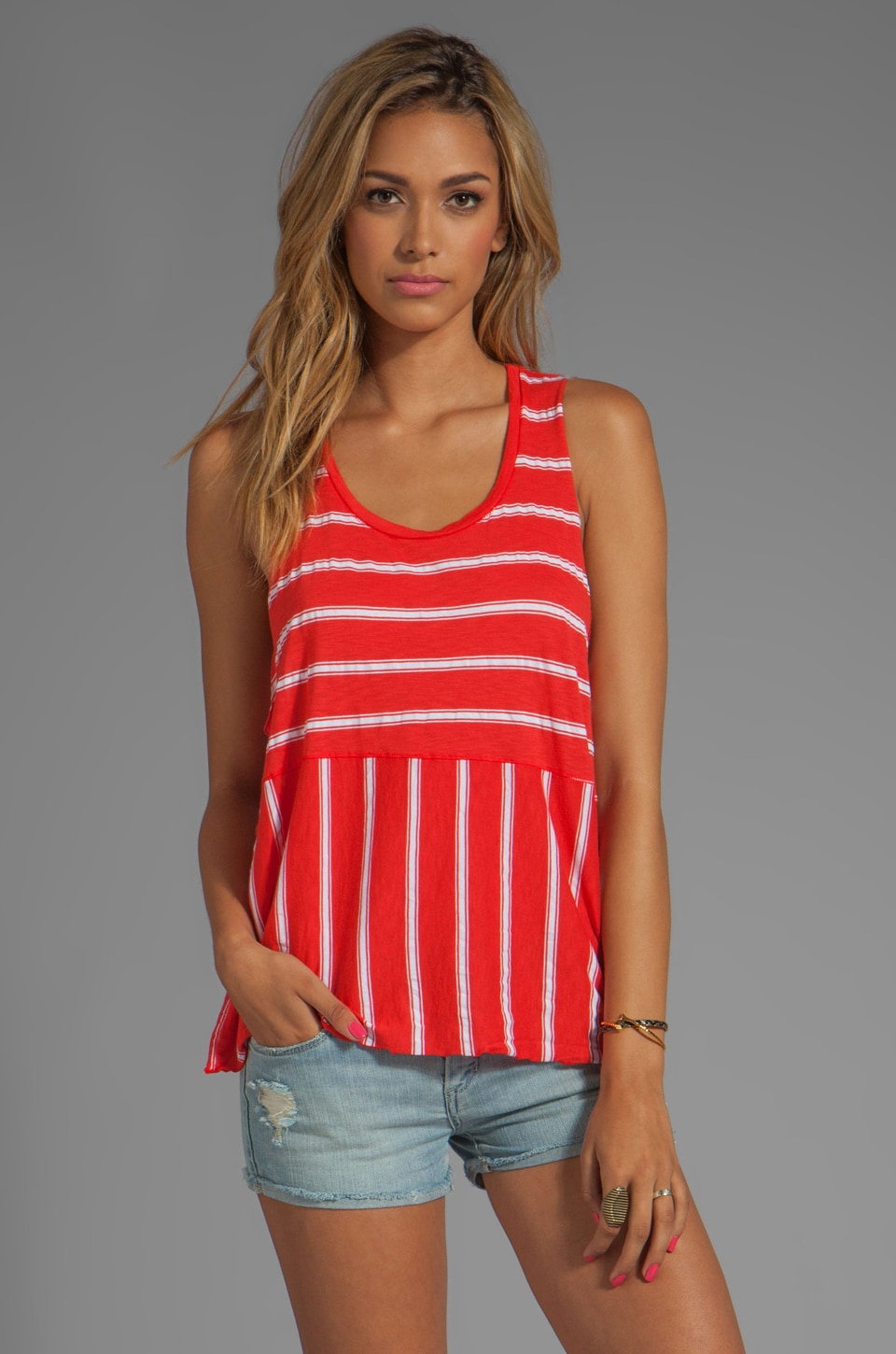 Michael Stars Hampton Stripe Dropped Armhole Cropped Tank in Samba