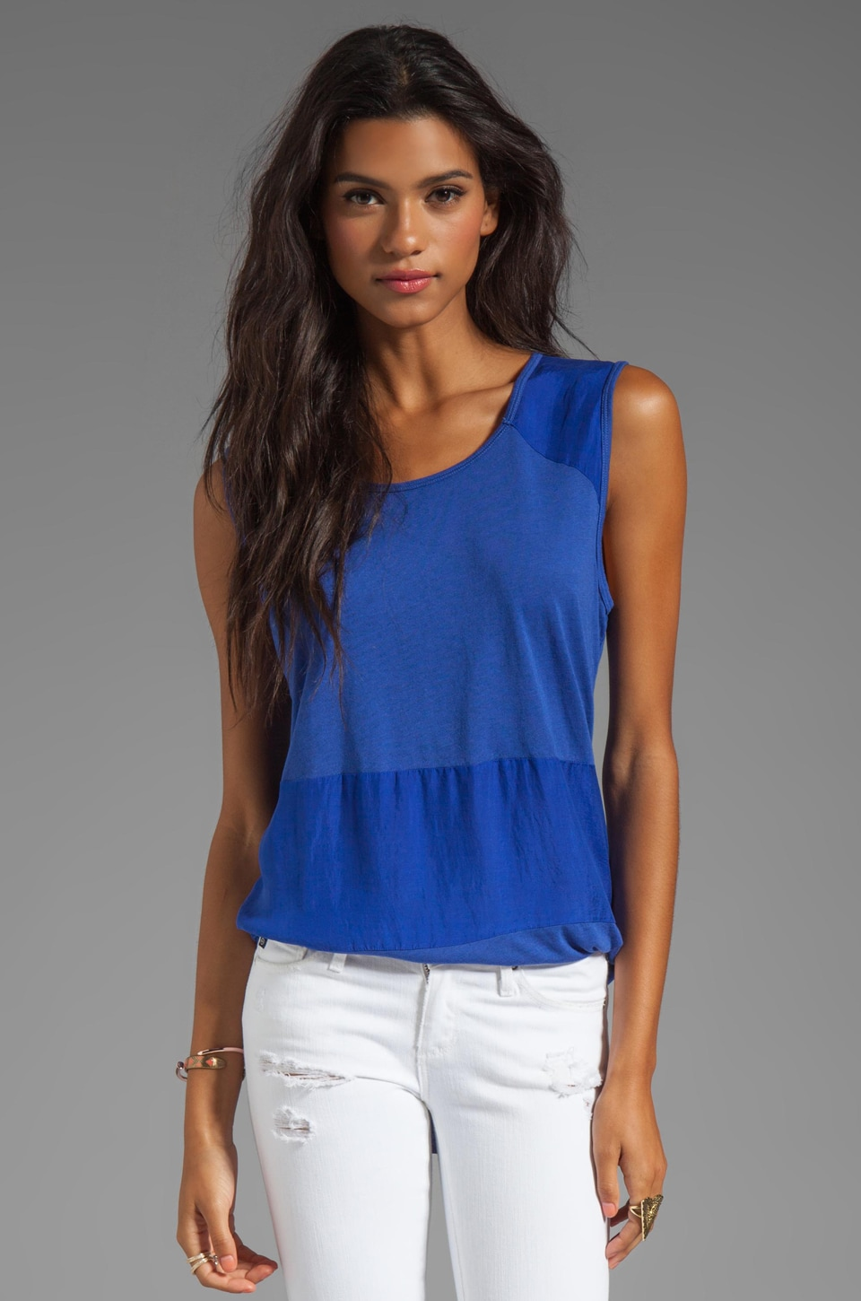Michael Stars Sandwashed Silk Scoop Neck Muscle Tank in Crest