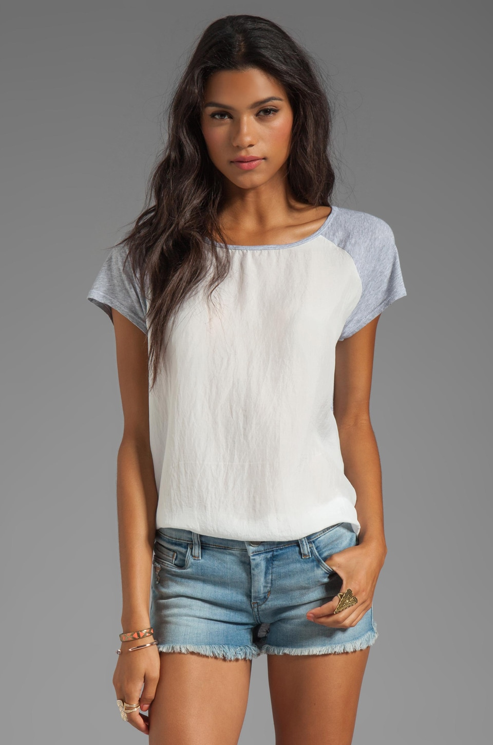 Michael Stars Sandwashed Silk Short Sleeve Raglan Hi-Low Top in White