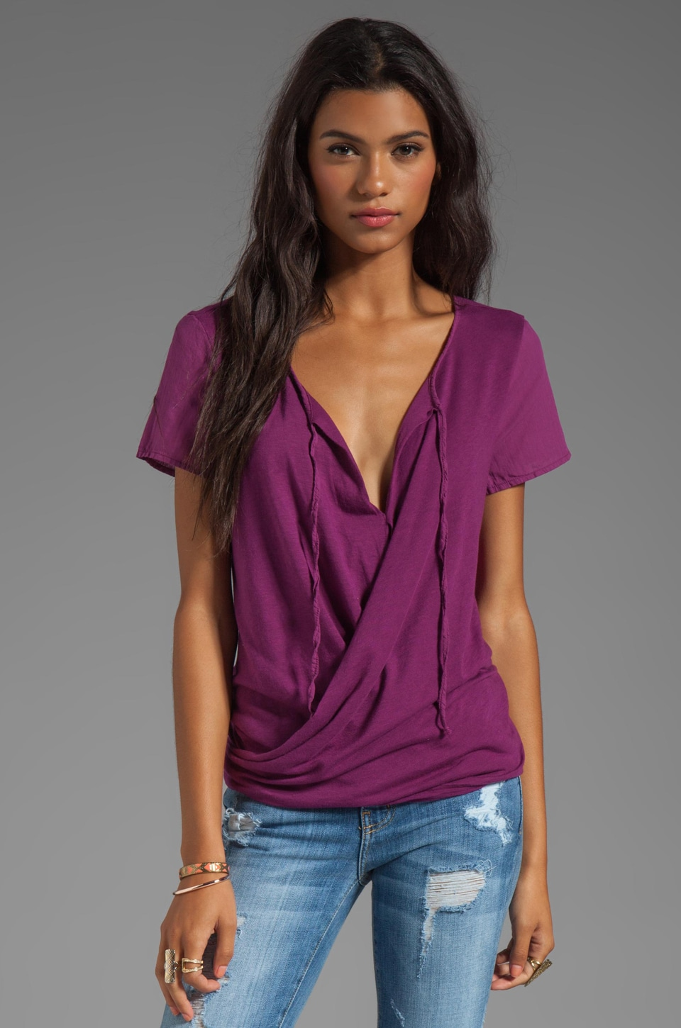 Michael Stars Luxe Slub Short Sleeve Drape Surplice Top in Boysenberry