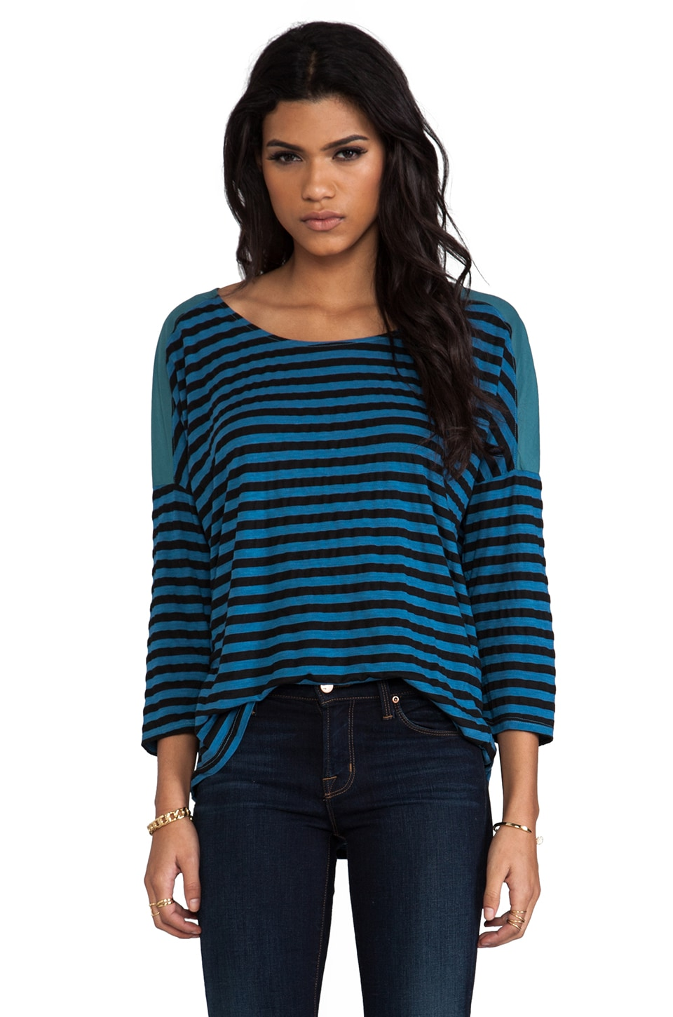 Michael Stars Soho Stripe 3/4 Sleeve Scoop Neck in Vista