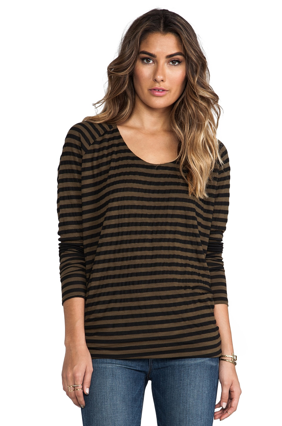Michael Stars Soho Stripe Long Sleeve Drape Back Top in Army Green