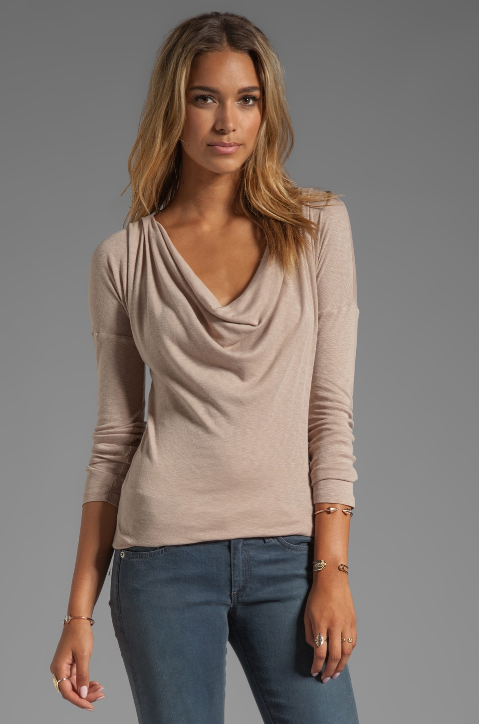 Michael Stars Long Sleeve Drape Neck Top in Fawn