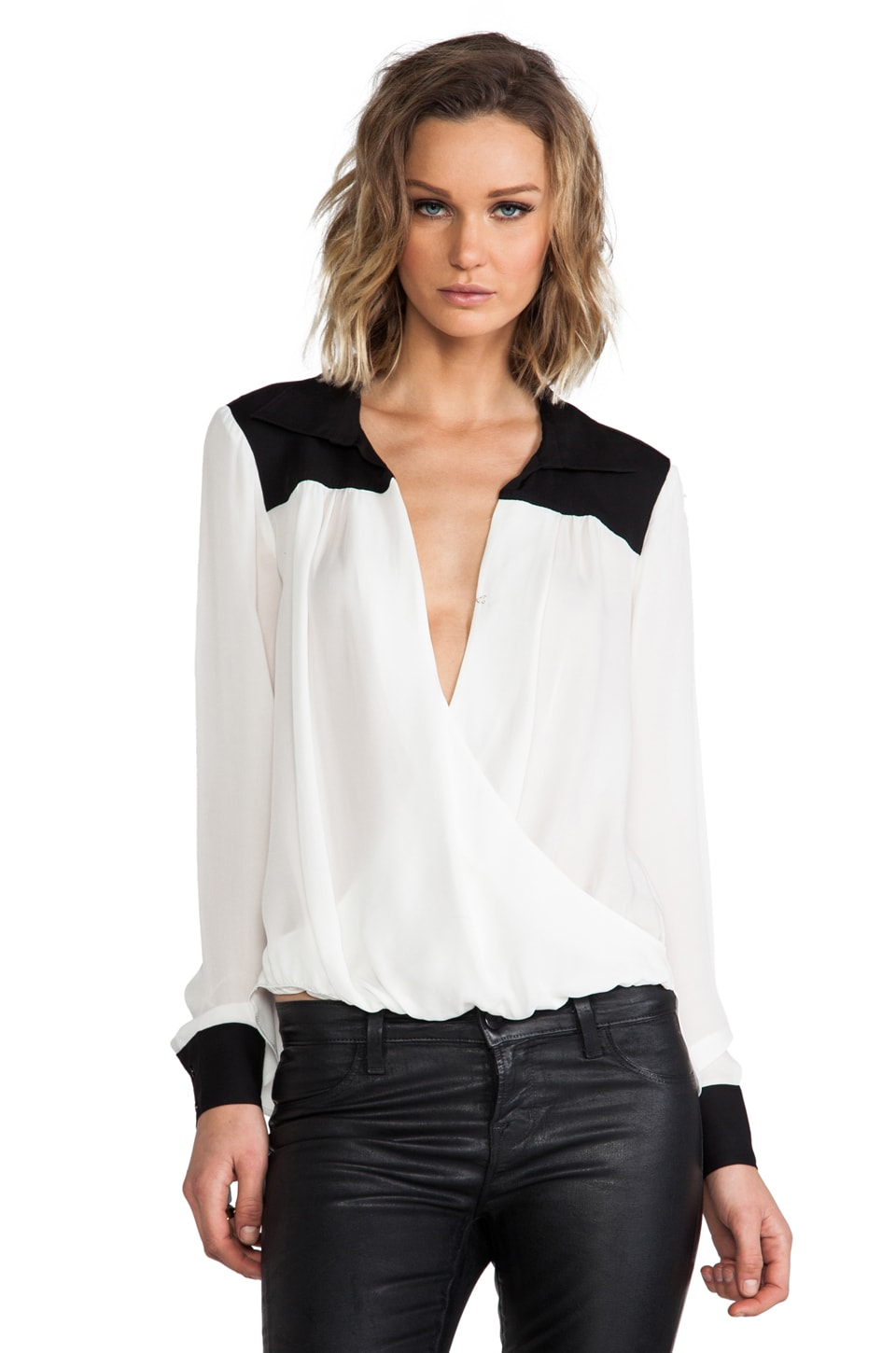 Michael Stars Paris Long Sleeve Collared Surplice hi-Low Blouse/Black in Ivory