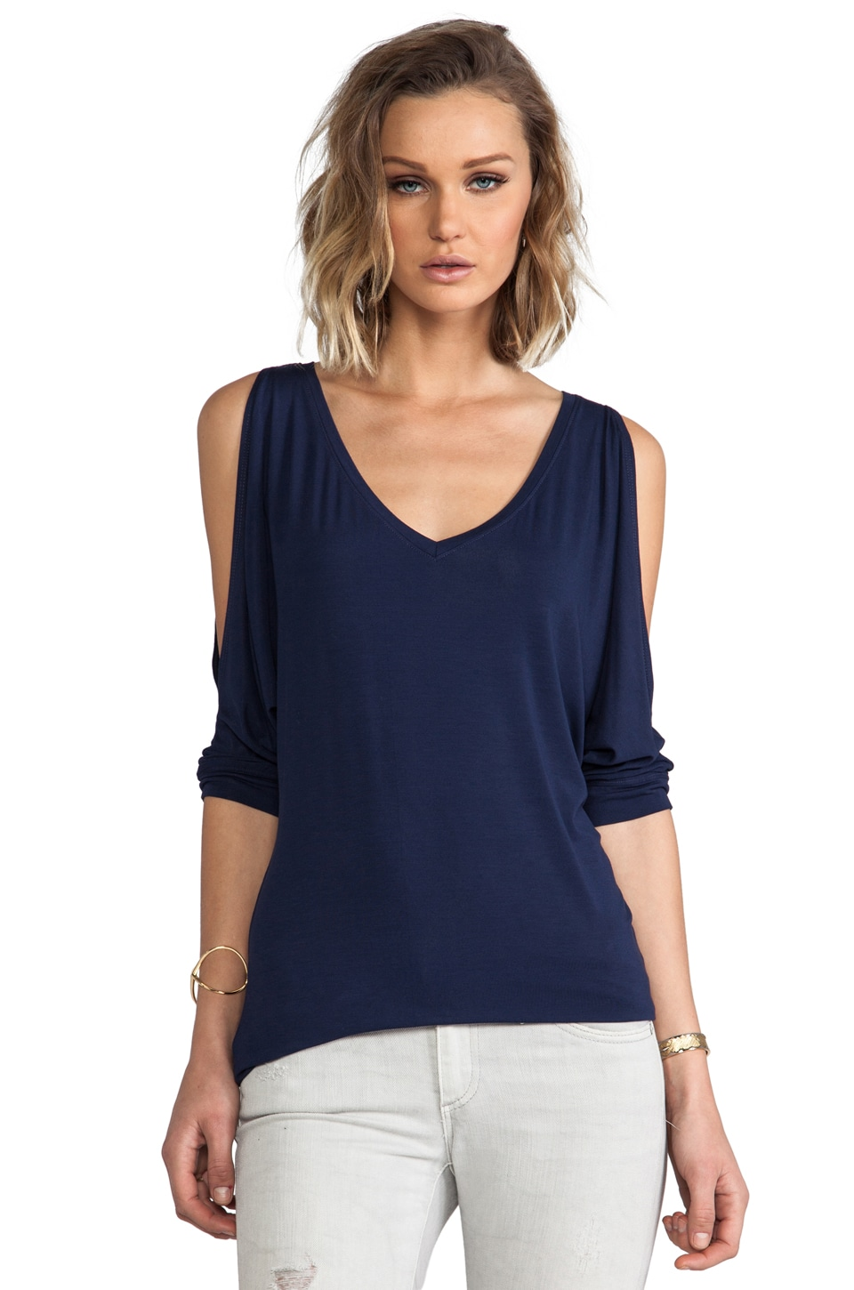 Michael Stars 3/4 Sleeve Cold Shoulder V Neck in Marlin