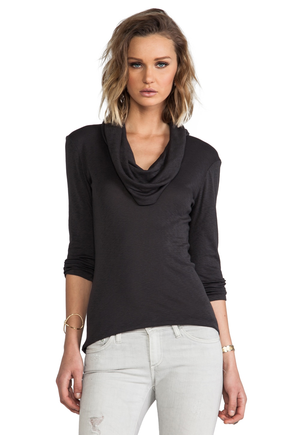 Michael Stars 3/4 Sleeve Cowl Neck Top in Quicksand