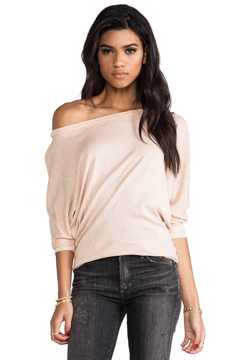 Michael Stars 3/4 Sleeve Wide Neck Dolman in Swan