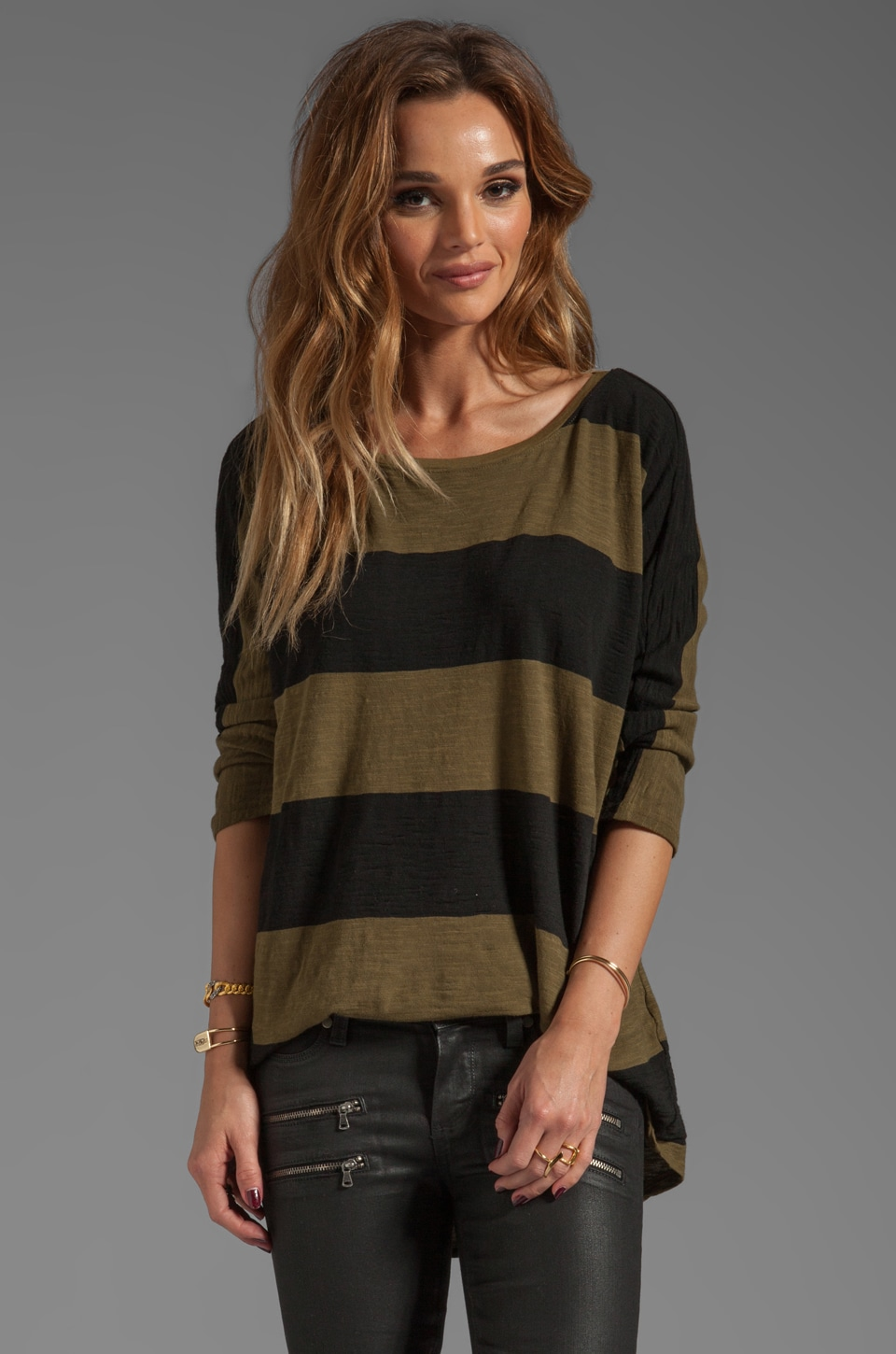 Michael Stars 3/4 Sleeve Wide Neck Hi-Low Tee Stripe in Army Green