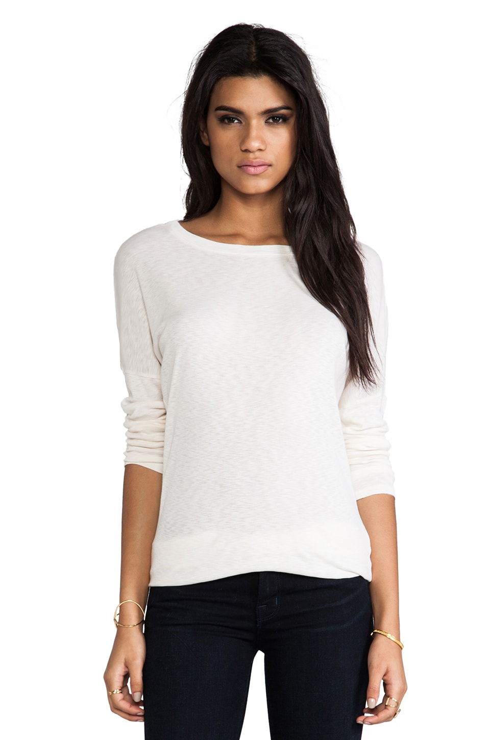 Michael Stars Long Sleeve Slim Boatneck with Banded Hem in Vanilla