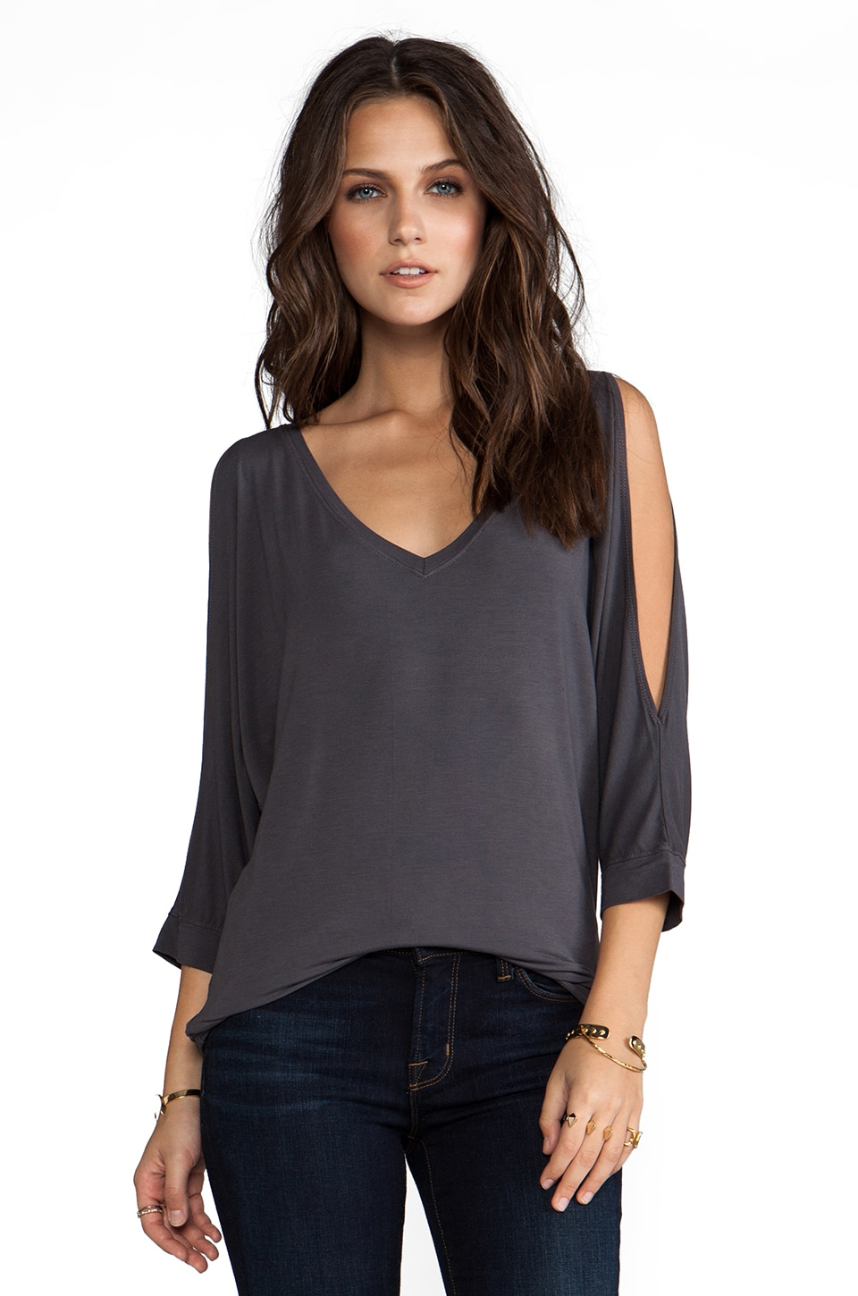 Michael Stars 3/4 Sleeve Cold Shoulder V Neck in Oxide