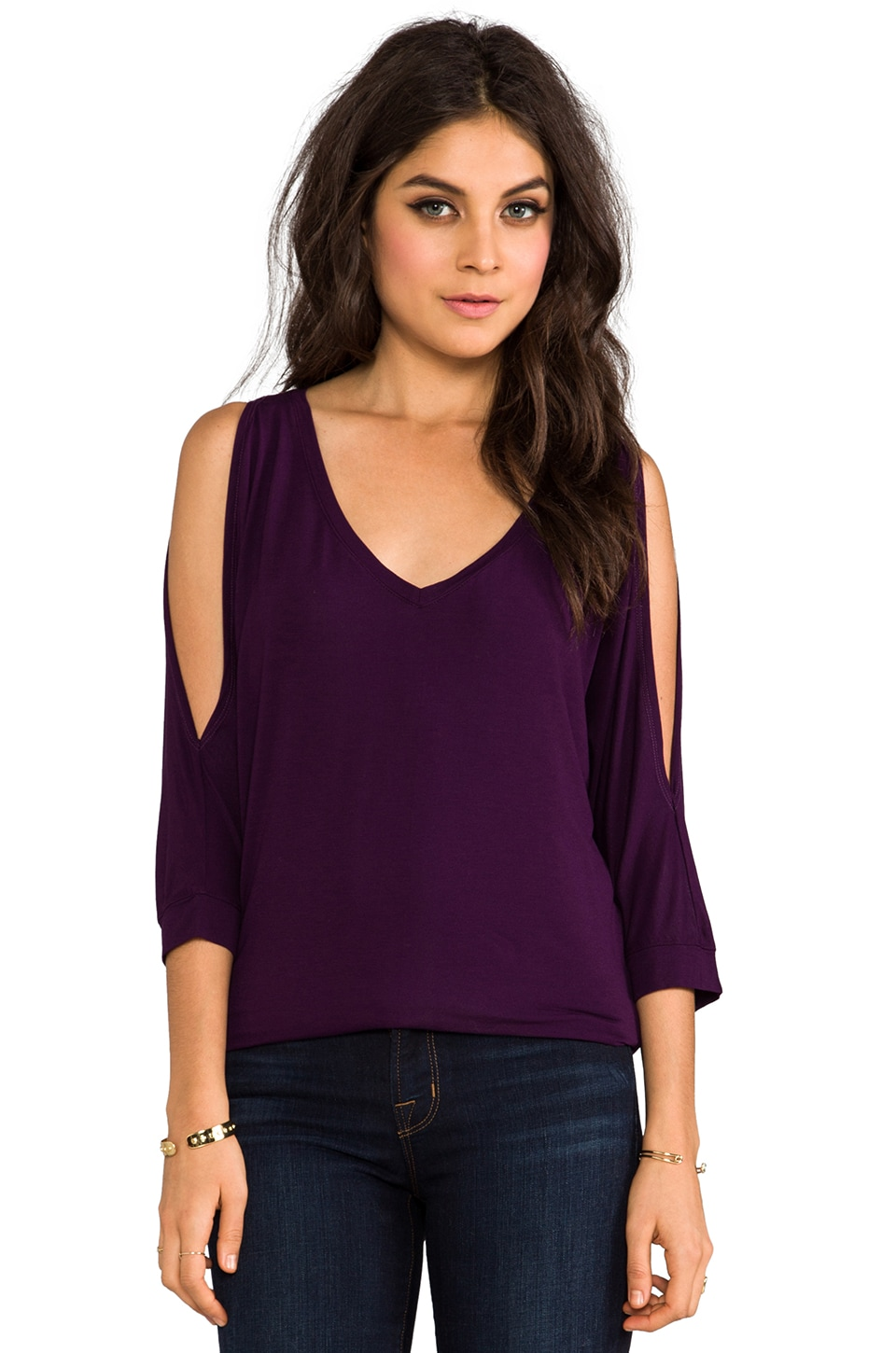 Michael Stars Cold Shoulder V Neck Tee in Monarch