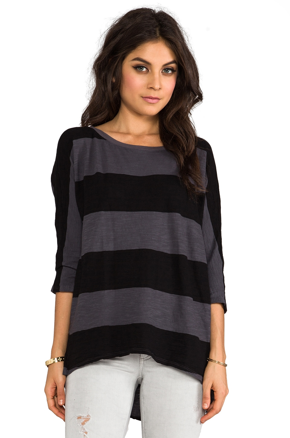 Michael Stars Stripe Wide Neck Hi-Low Tee in Oxide