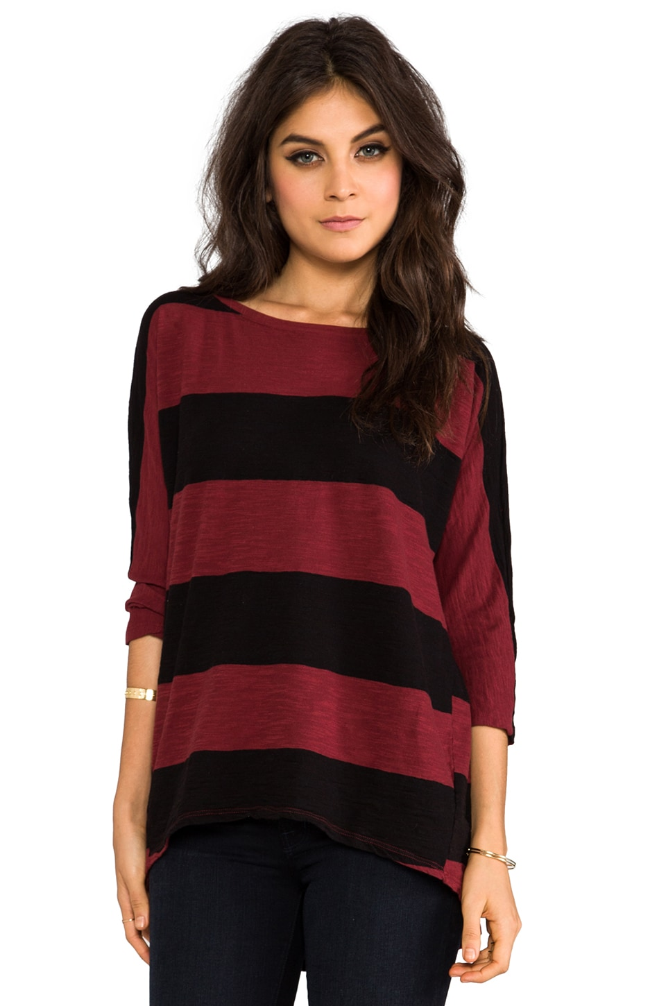 Michael Stars Stripe Wide Neck Hi-Low Tee in Russet