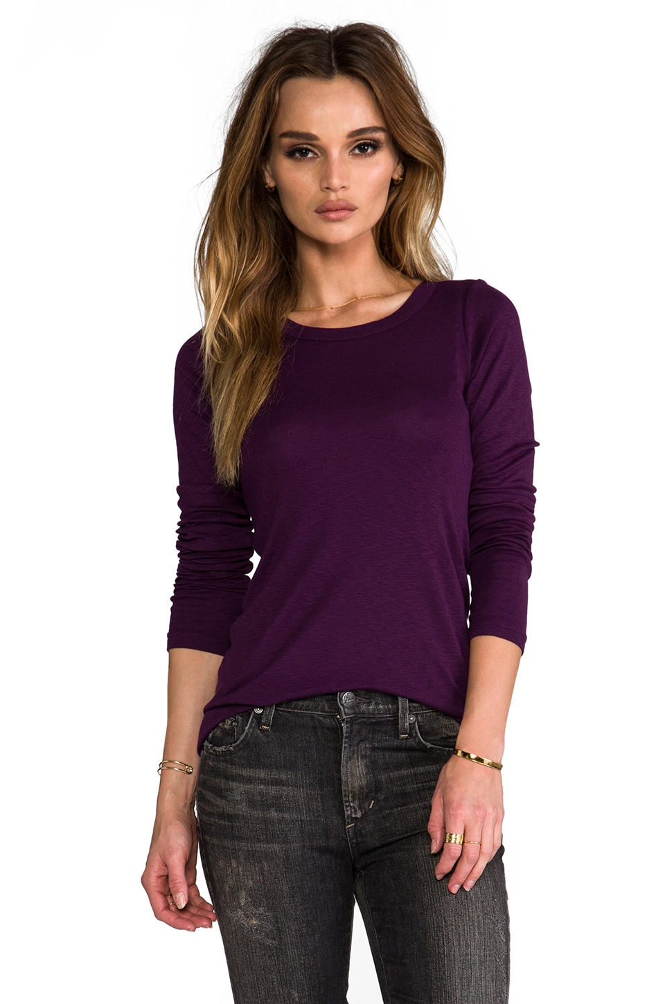 Michael Stars Long Sleeve Band Crew in Monarch