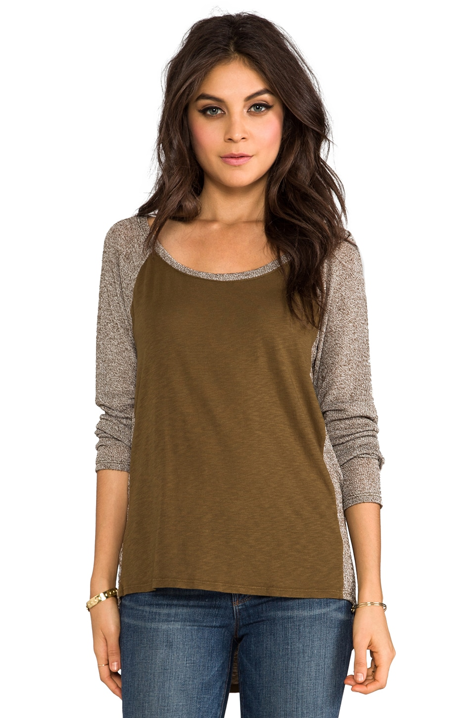 Michael Stars Long Sleeve Scoop Neck Raglan Hi-Low in Army