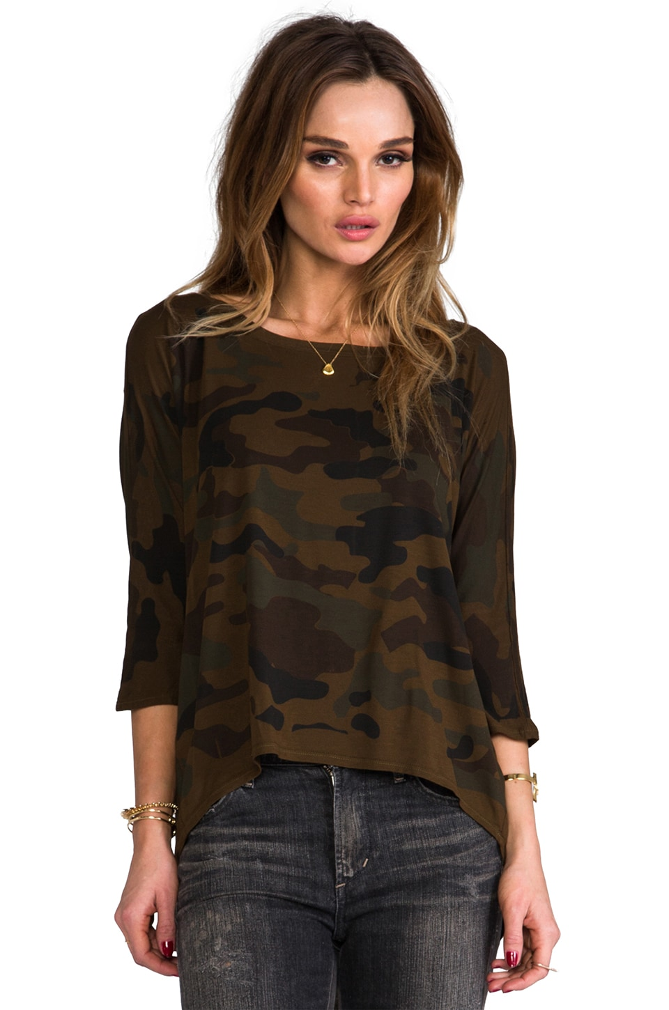 Michael Stars Camo 3/4 Sleeve Wide Neck in Army Green
