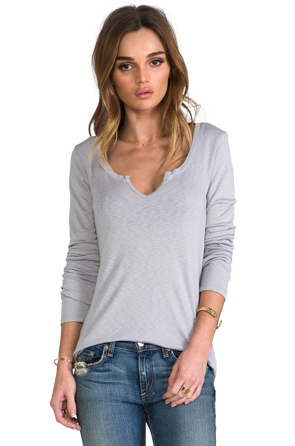 Michael Stars Long Sleeve Notched Scoop Neck in Abalone