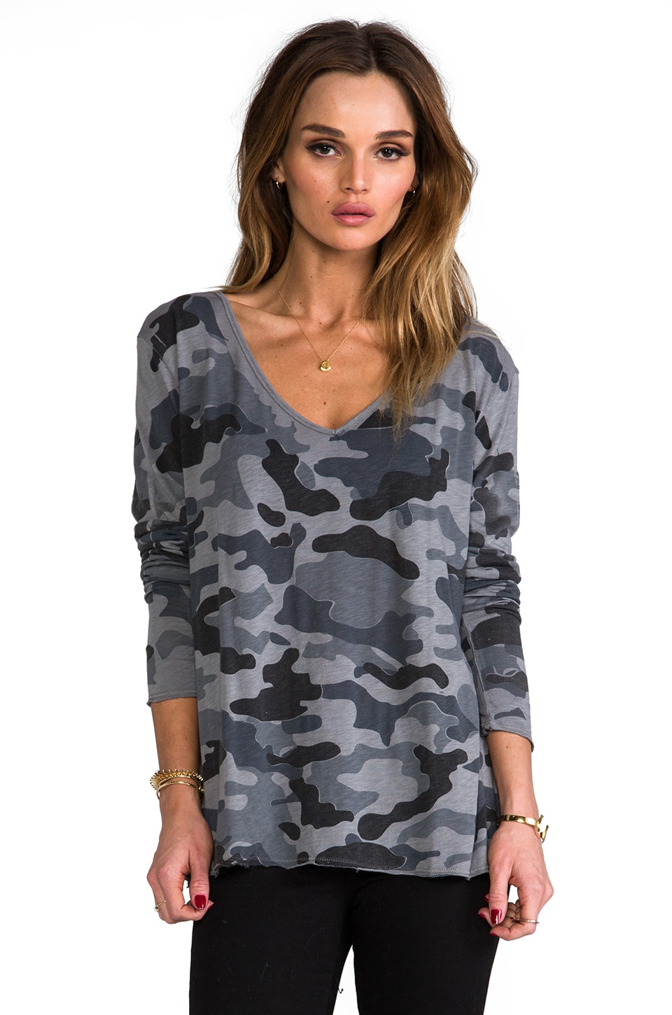 Michael Stars Camo Boxy Long Sleeve V Neck in Oxide