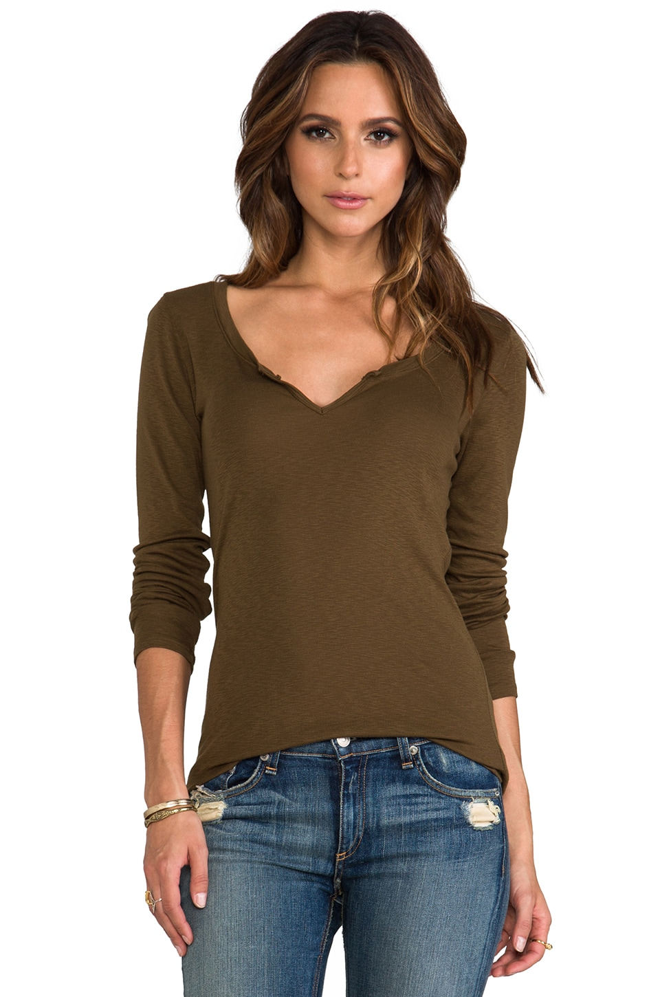 Michael Stars Long Sleeve Notched Scoop Neck in Army Green