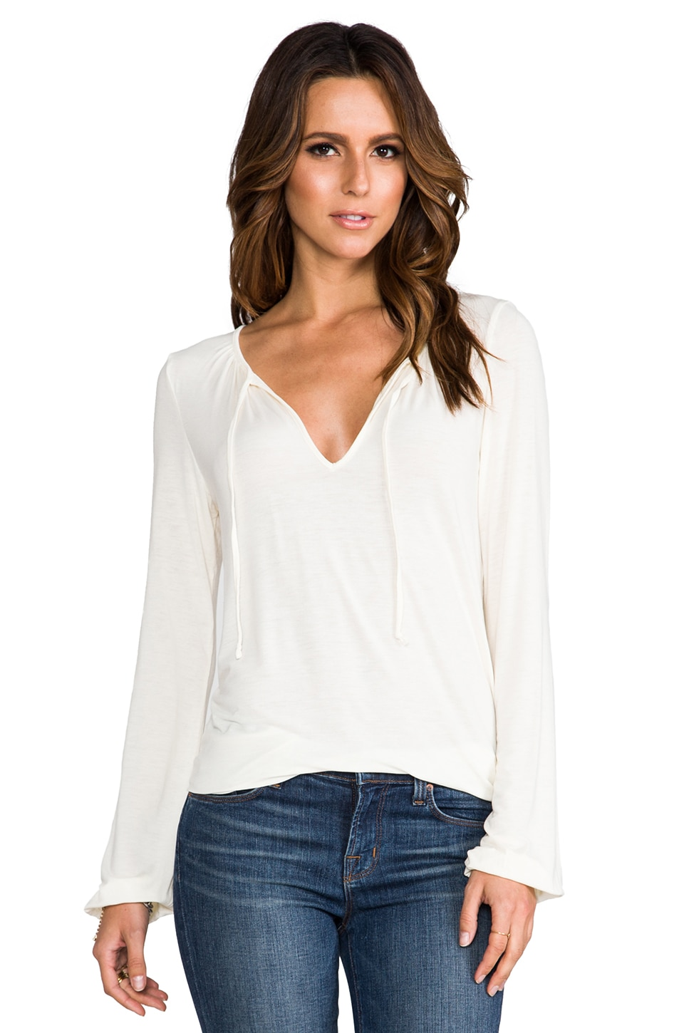 Michael Stars Shirred Blouse in Vanilla