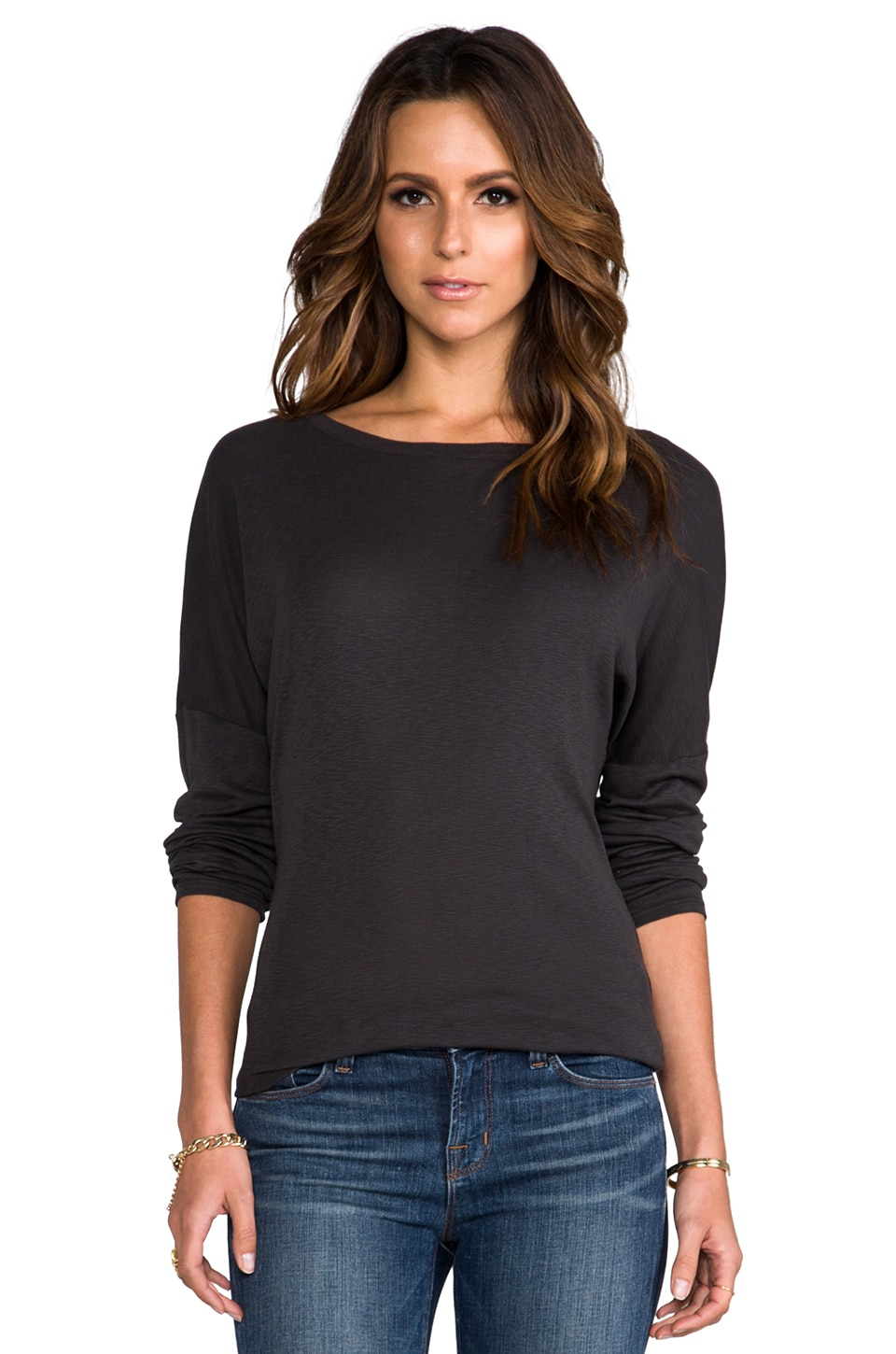 Michael Stars Long Sleeve Boat Neck Tee in Oxide