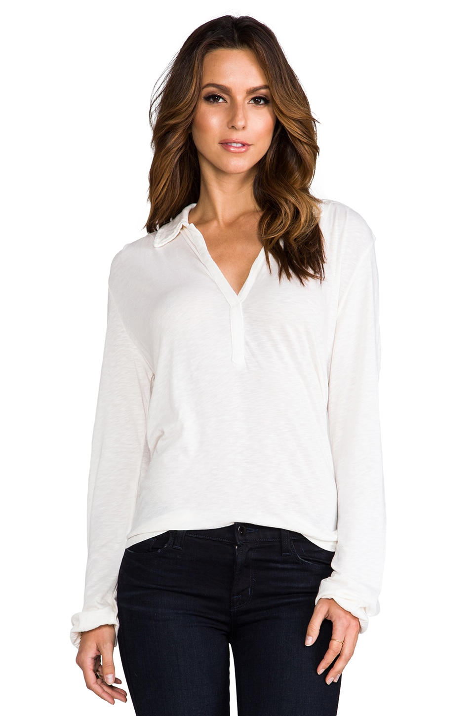 Michael Stars Long Sleeve Henley in Vanilla