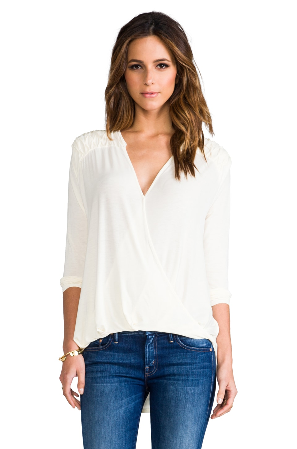 Michael Stars Roll Sleeve Surplice Top in Vanilla