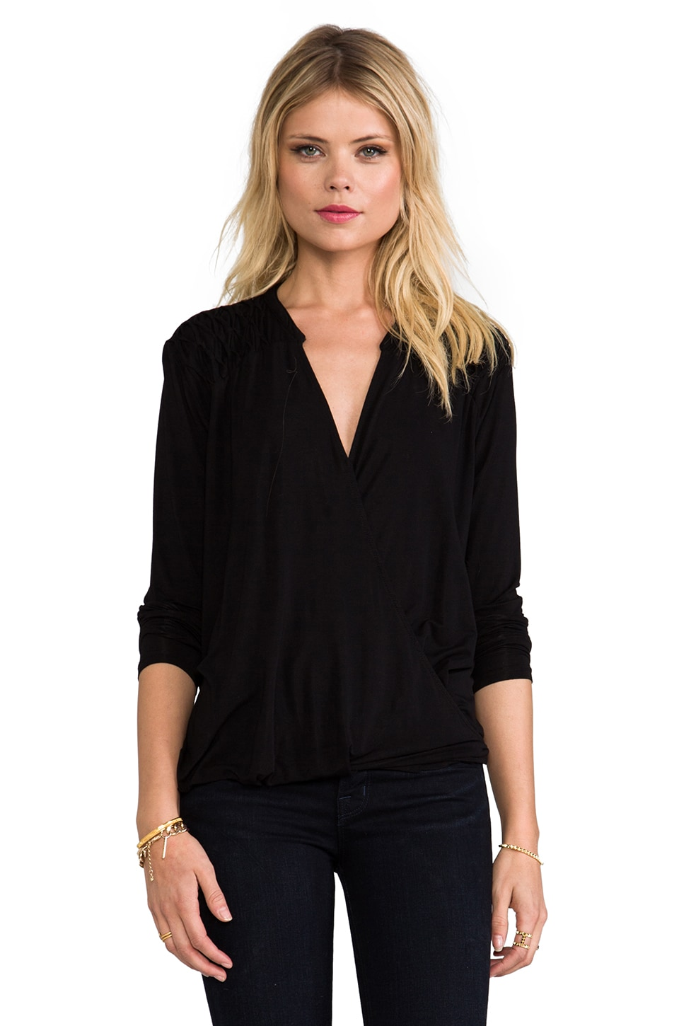 Michael Stars Roll Sleeve Surplice Top in Black