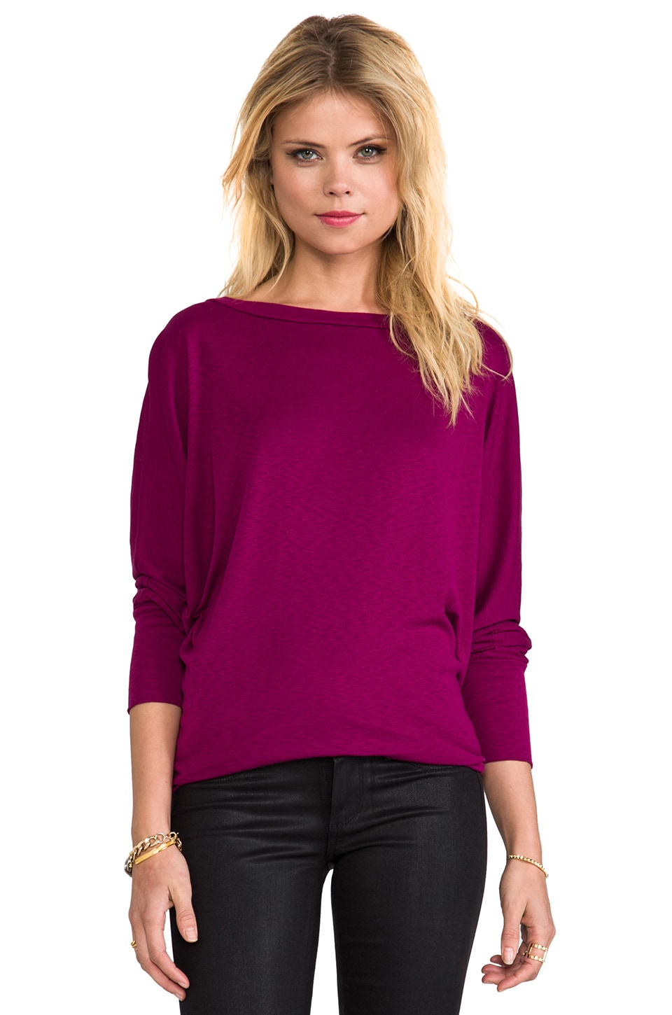 Michael Stars Wide Neck Dolman in Elderberry