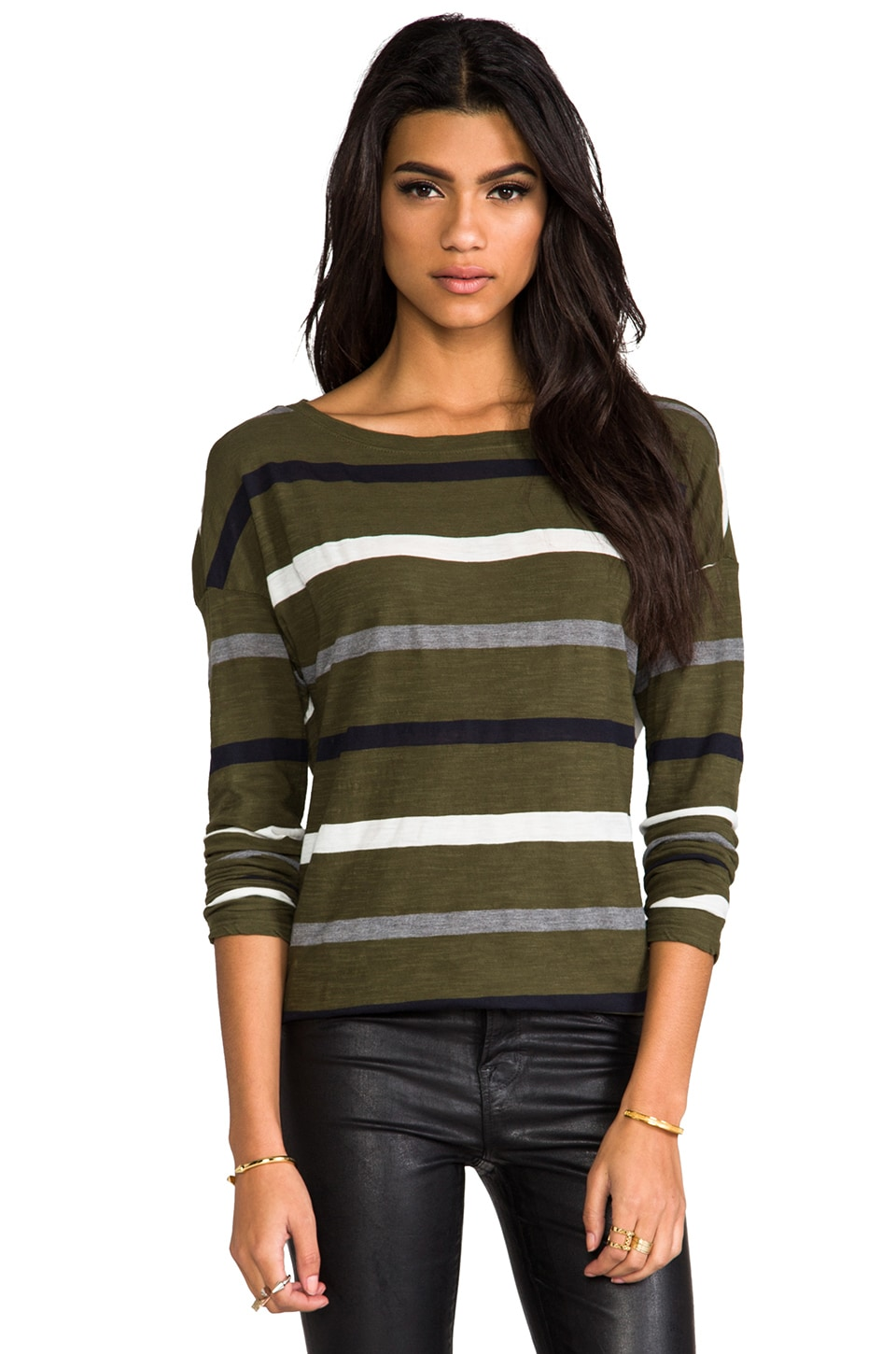 Michael Stars Dropped Shoulder Boatneck Tee in Topiary