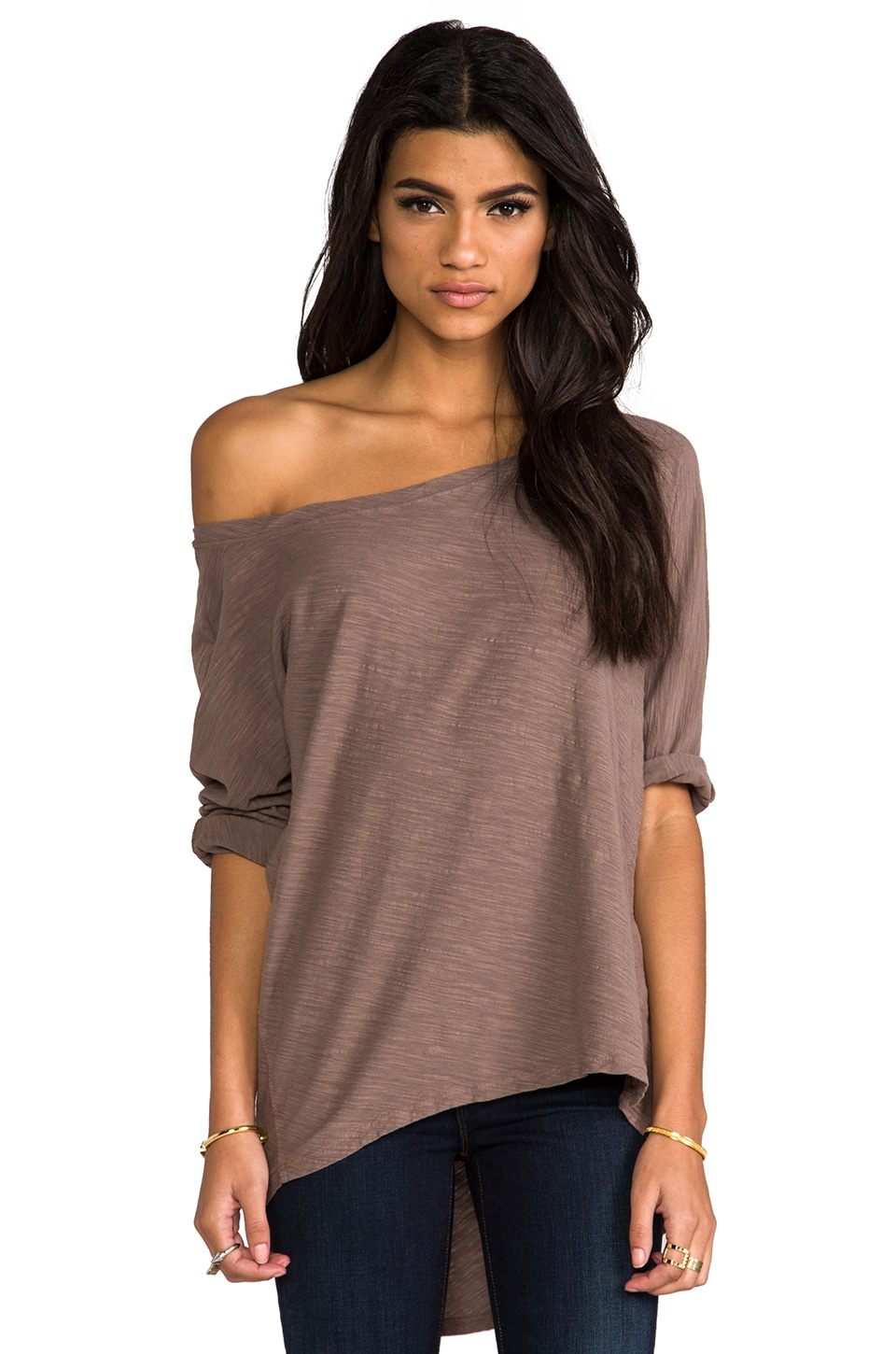 Michael Stars Hi-Low Boatneck Tee in Quicksand