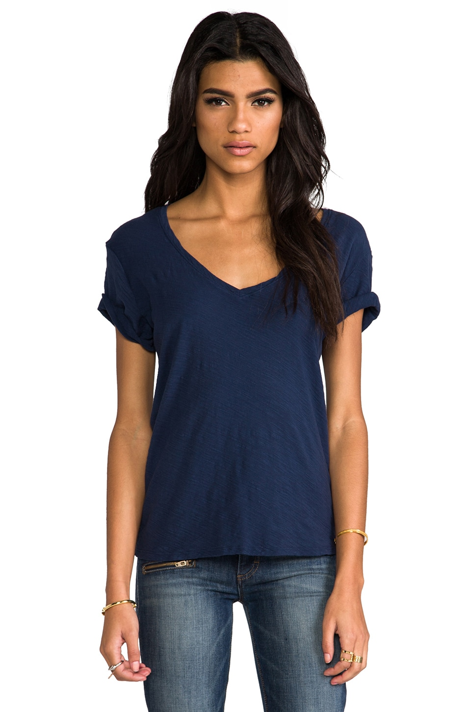 Michael Stars V Neck Tee in Marlin