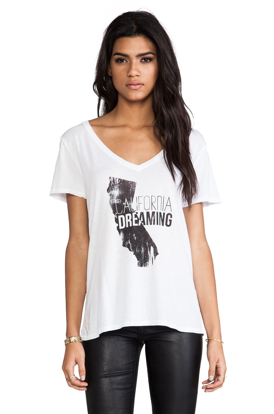Michael Stars California Dreaming Slim Slouch V Neck in White