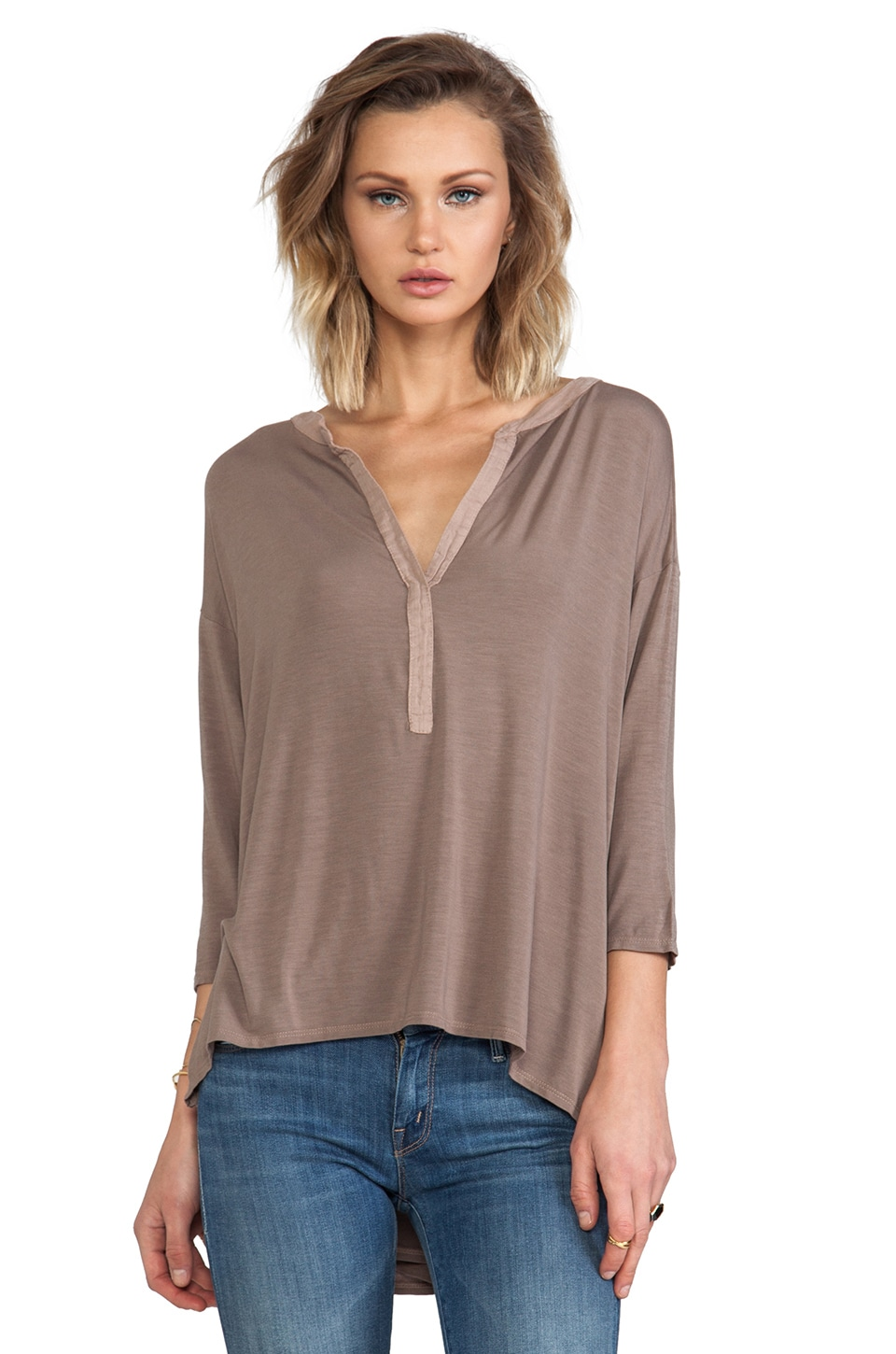 Michael Stars 3/4 High Low Split Neck Tee in Cobblestone