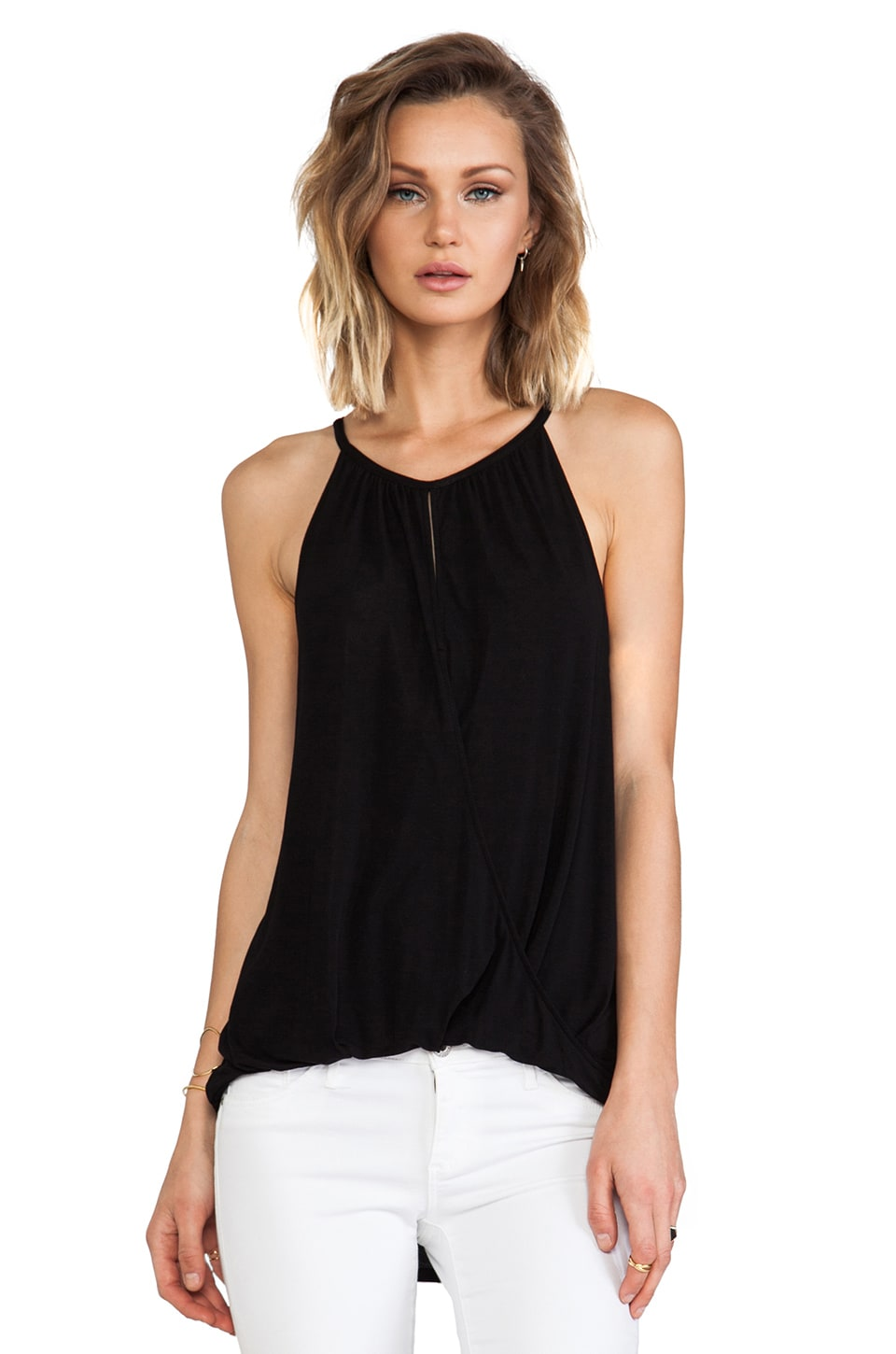 Michael Stars Sleeveless Keyhole High Low Halter in Black