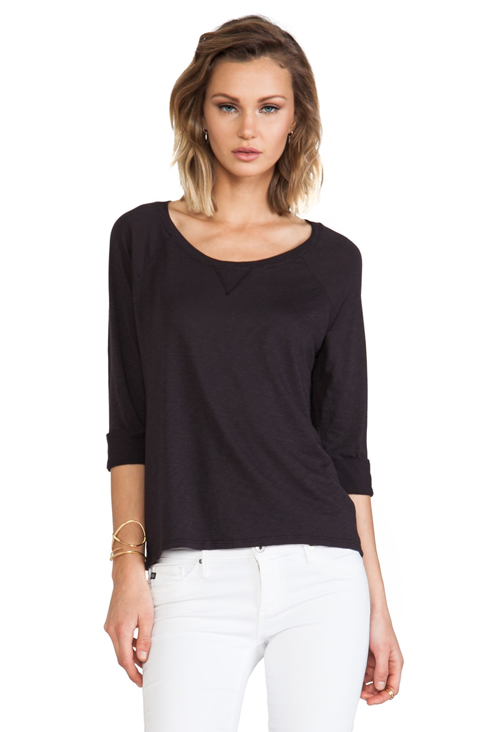Michael Stars 3/4 Raglan Wide Scoop Neck in Oxide