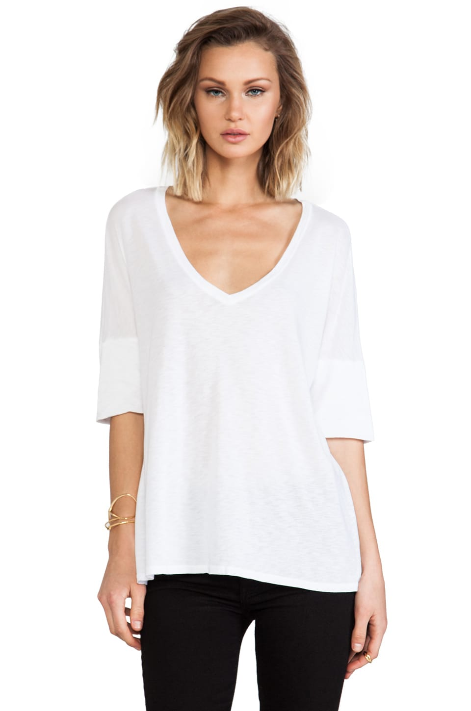 Michael Stars Elbow Roll Sleeve V Neck in White
