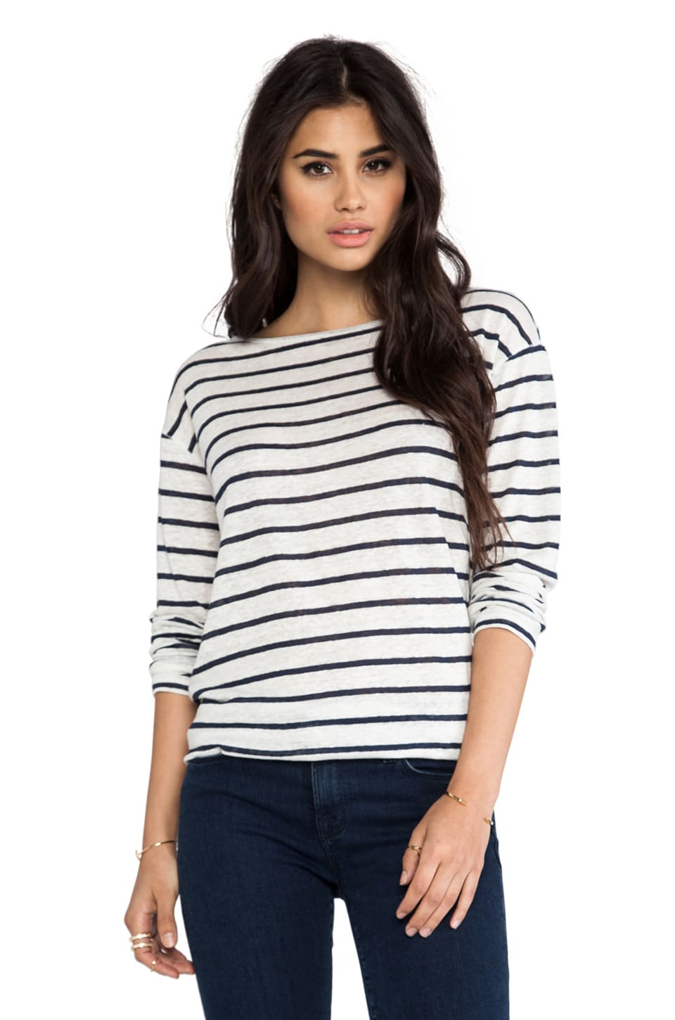 Michael Stars Long Sleeve Boat Neck Tee in Ship