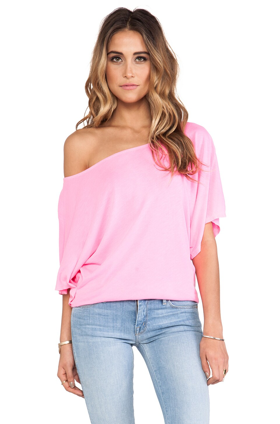Michael Stars Off the Shoulder Dolman Tee in Blinding Pink