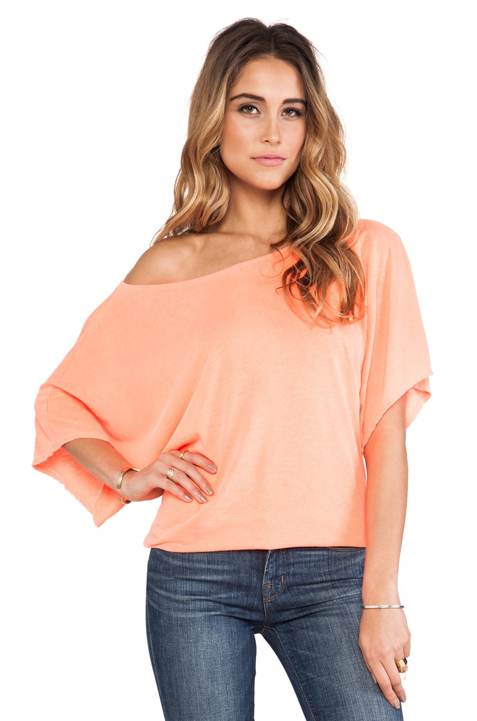 Michael Stars Off the Shoulder Dolman Tee in Screaming Orange