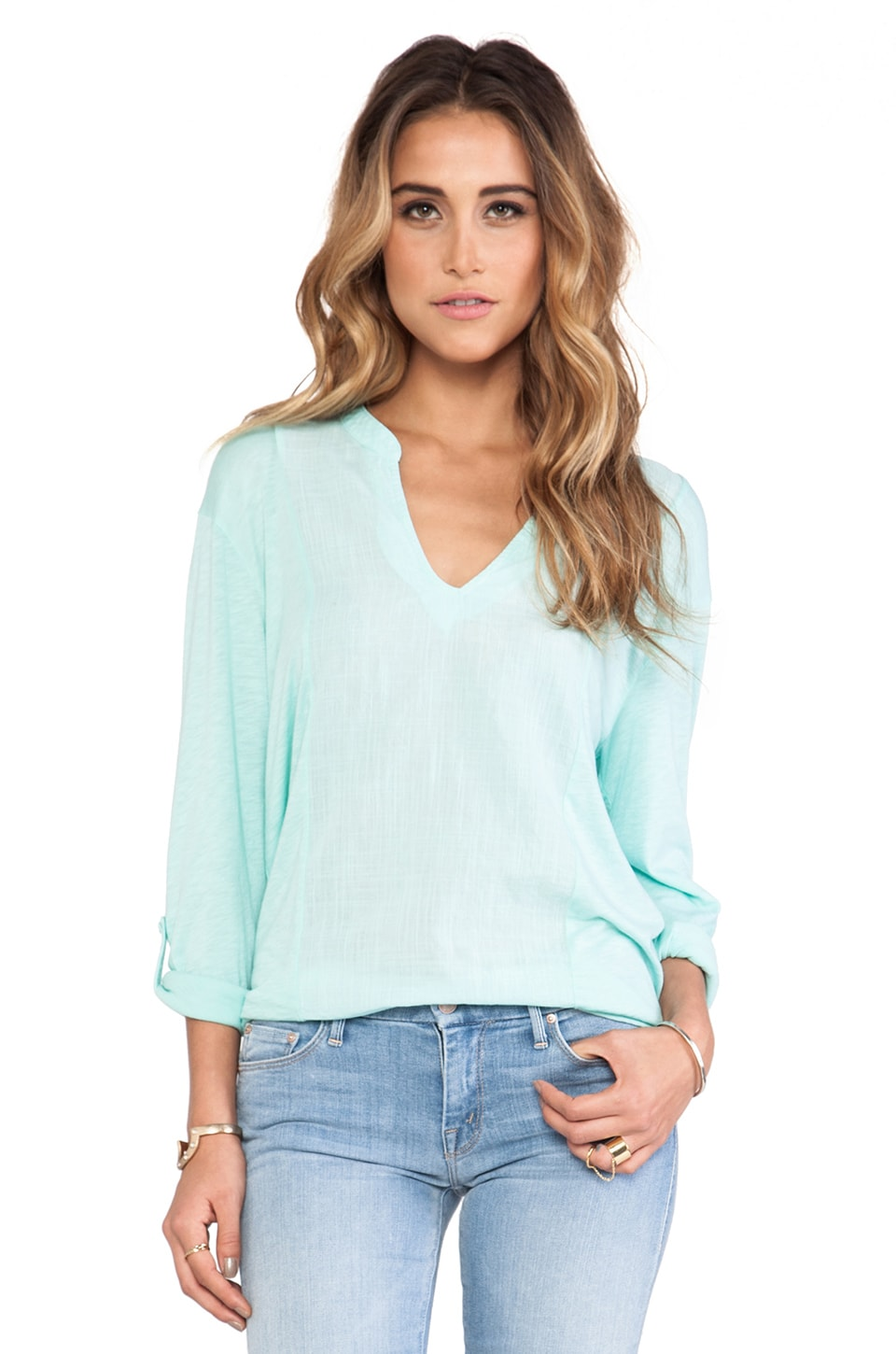 Michael Stars Long Sleeve Voile Mix Split Neck Top in Sea Spray