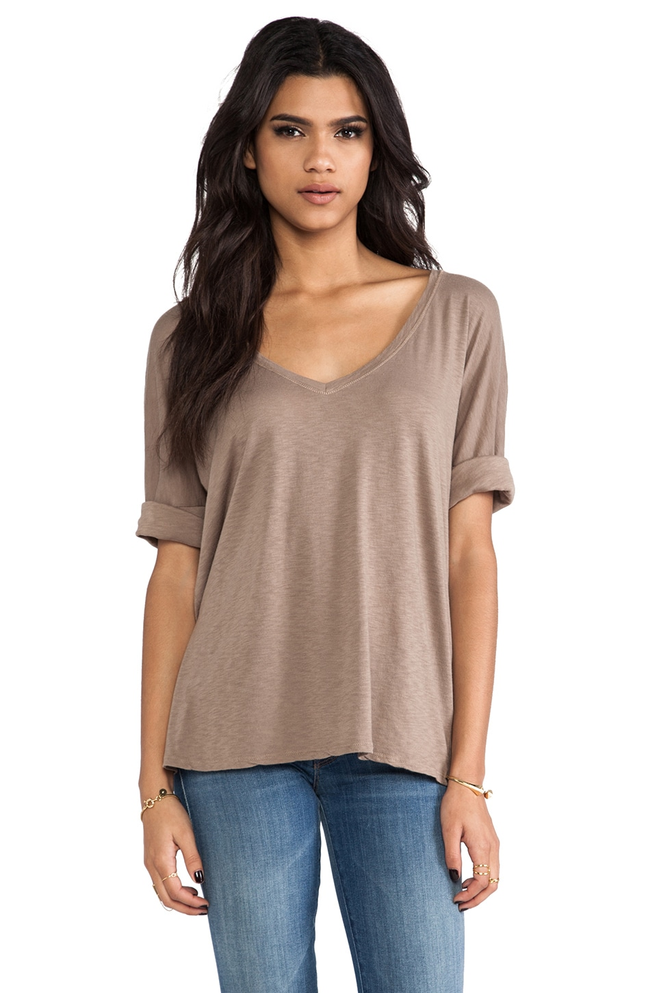 Michael Stars Elbow Roll Sleeve V Neck Tee in Cobblestone