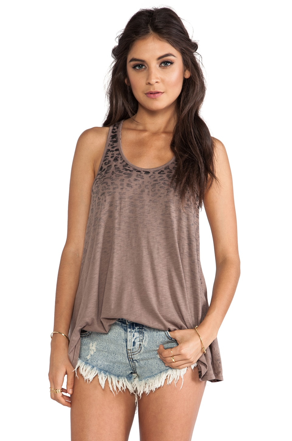 Michael Stars Sleeveless Trapeze Tank in Cobblestone