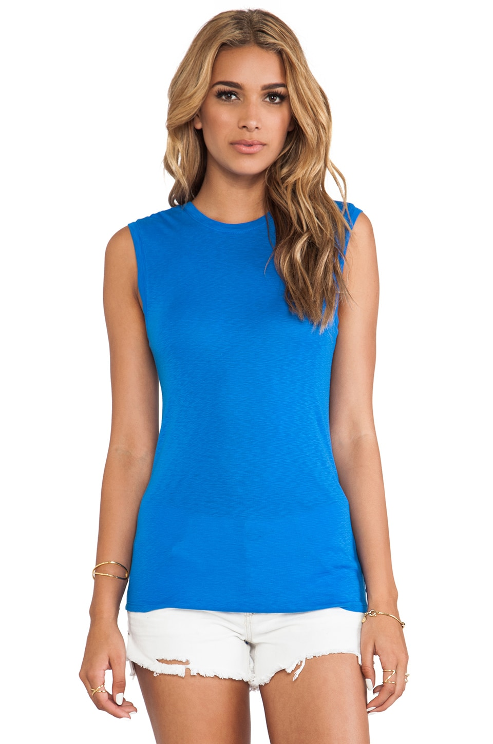 Michael Stars Surplice V Neck Tank in Pacific