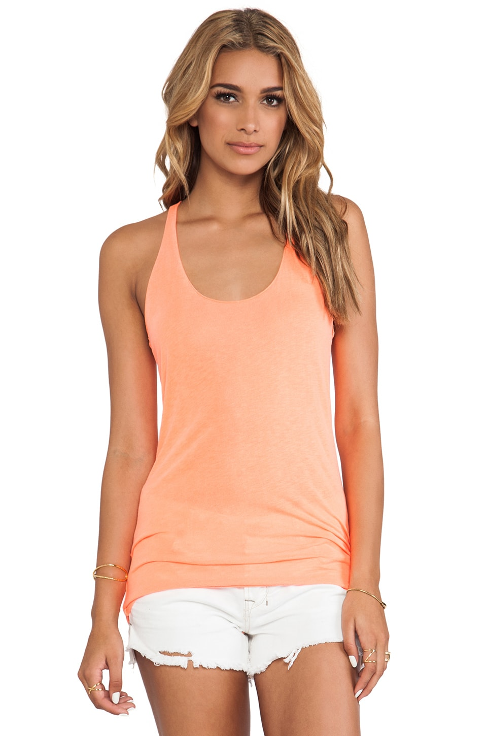 Michael Stars Scoop Neck Racerback Tank in Screaming Orange