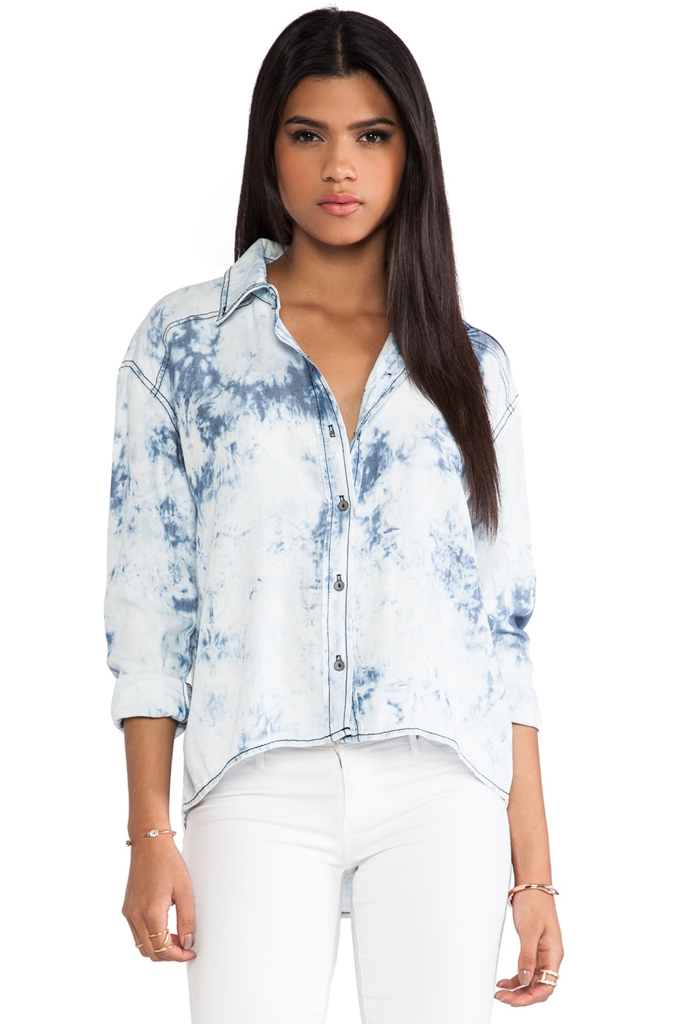 Michael Stars High Low Button Down Shirt in Cloud Wash